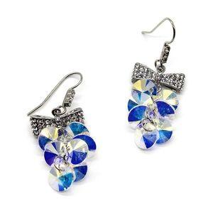 Lovely silver bow swarovski crystal hook earrings
